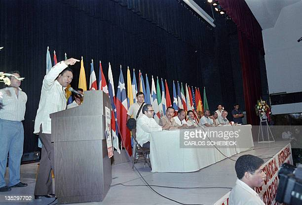 This photo taken on April 30, 1988 in Panama city shows General Manuel Antonio Noriega adressing the closing session of a three-day international...