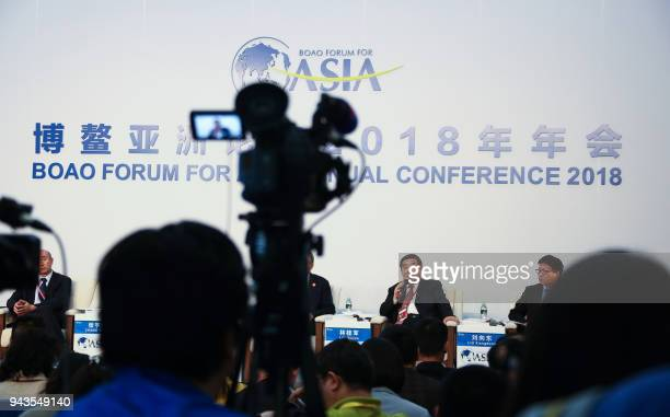This photo taken on April 8 2018 shows scholar Lin Guijun speaking at a press conference ahead of the opening of the Boao Forum for Asia...