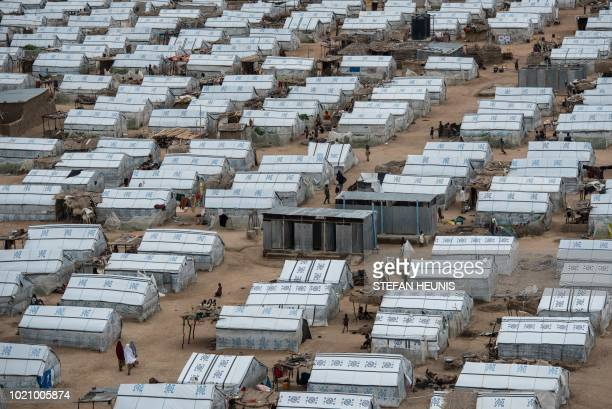 This photo taken on August 1 2018 shows one of the IDP camps in Pulka As the presidential race heats up ahead of February polls the Nigerian...