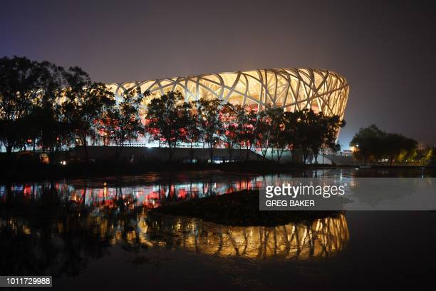 This photo taken on August 1, 2018 shows the National Stadium, known as the Bird's Nest, which was built for the 2008 Beijing Olympic Games, in...
