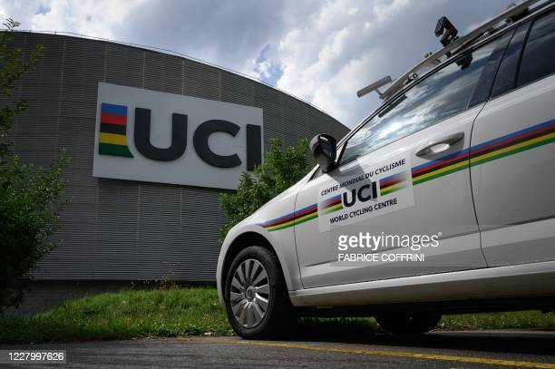 This photo taken on August 10 shows the headquarters of the world's cycling governing body UCI in Aigle, amid the COVID-19 outbreak, caused by the...