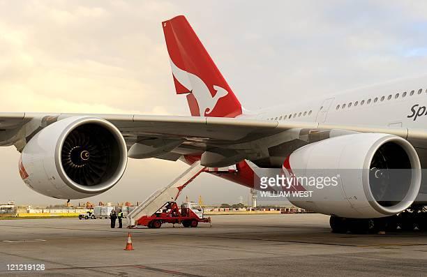 This photo taken on August 11 2011 shows a Qantas A380 Airbus sitting on the tarmac at Melbourne's Tullamarine Airport Australian flag carrier Qantas...