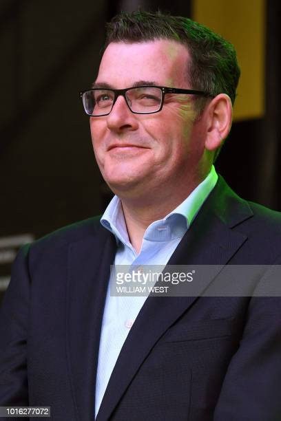 This photo taken on August 11 2018 shows Victoria's Premier Daniel Andrews attending an Indian Film Festival of Melbourne event at Federation Square...