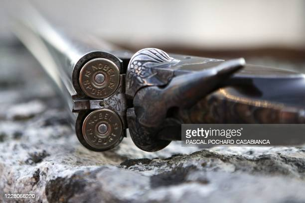 This photo taken on August 16 shows a gun and ammunition as buckshots are now forbidden during a boar hunt in Pietrosella on the French Mediterranean...