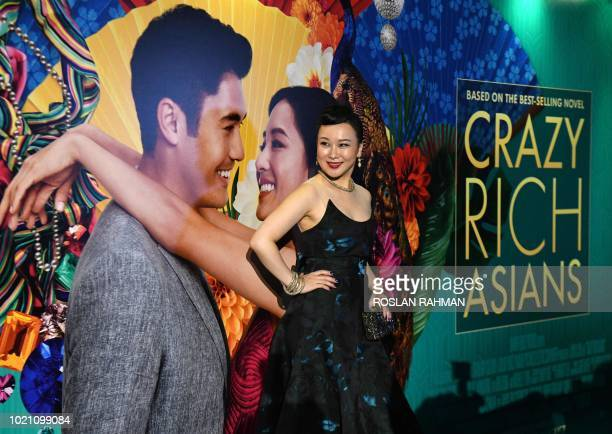 This photo taken on August 21 2018 shows Chinese actress Jasmine Chen posing at the premier of the film 'Crazy Rich Asians' at the Capitol Theatre in...