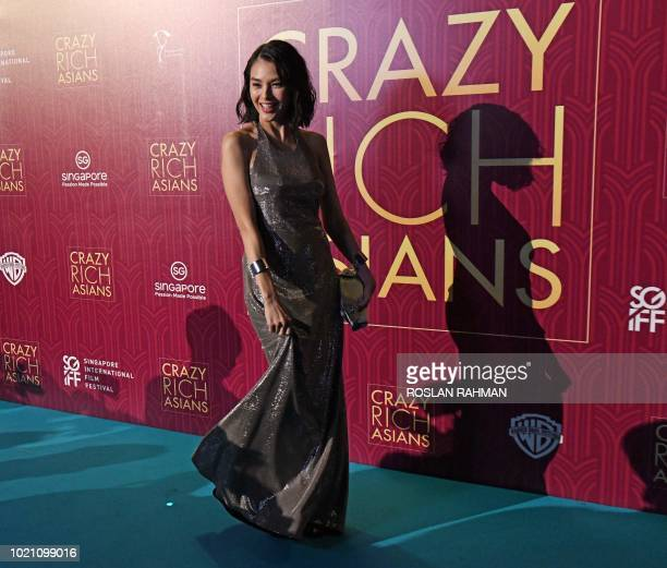 This photo taken on August 21 2018 shows Malaysian actress Carmen Soo posing at the premier of the film 'Crazy Rich Asians' at the Capitol Theatre in...
