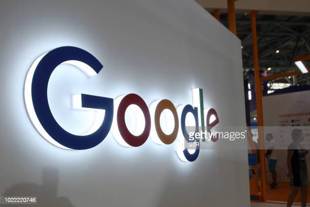 This photo taken on August 23 2018 shows the Google logo on display at the Smart China Expo at Chongqing International Expo Center in southwest...
