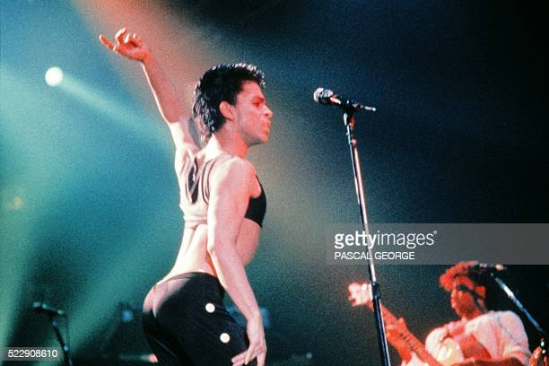 This photo taken on August 25 1986 shows musician Prince performing on stage during his concert at the Zenith venue in Paris Pop icon Prince whose...