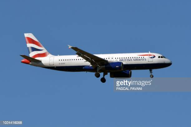 This photo taken on August 27 2018 shows an Airbus A320 of British Airways as it flies above Toulouse southern France