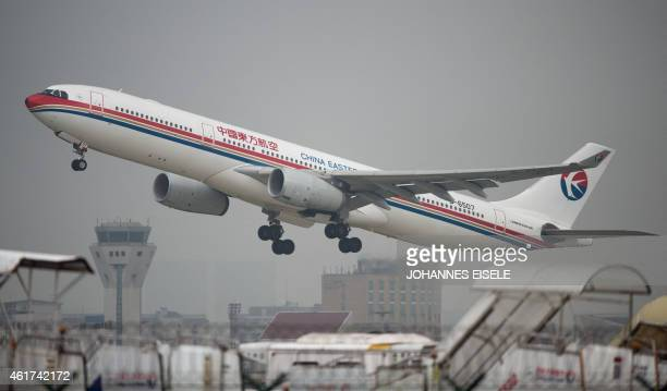 This photo taken on August 28 2014 shows a China Eastern Airlines plane taking off at Shanghai's Hongqiao airport AFP PHOTO / JOHANNES EISELE