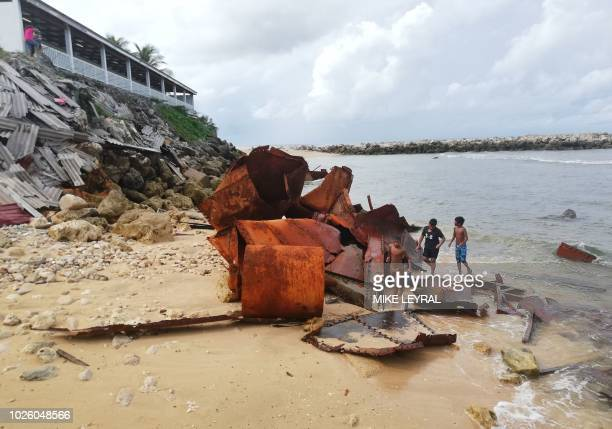 This photo taken on August 31 2018 shows junk along the shore in Aiwo on the Pacific island of Nauru Official talks at the 18nation Pacific Islands...