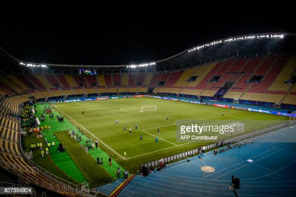 This photo taken on August 7, 2017 shows the Filip II National Arena in Skopje on the eve of the UEFA Super Cup 2017 football match between Real...