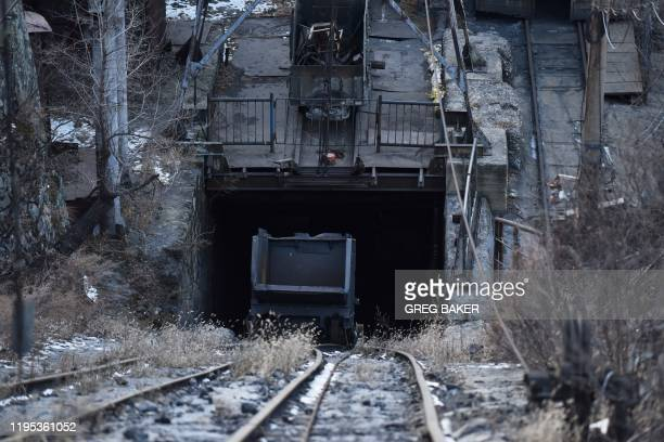 This photo taken on December 11 2019 shows an entrance to the Datai coal mine in Mentougou west of Beijing