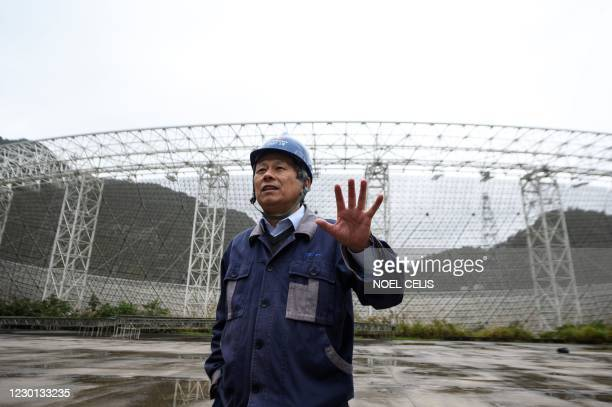 This photo taken on December 13, 2020 shows Wang Qiming, chief inspector of Operations and Development Centre of the Five-hundred-meter Aperture...
