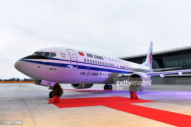 This photo taken on December 15 2018 shows a Boeing 737 MAX 8 airplane delivered to Air China during a ceremony at Boeing Zhoushan 737 Completion and...