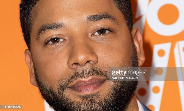 This photo taken on December 2 2019 shows US actor Jussie Smollett arriving at the Trevor Live Los Angeles Gala 2018 in Beverly Hills California...
