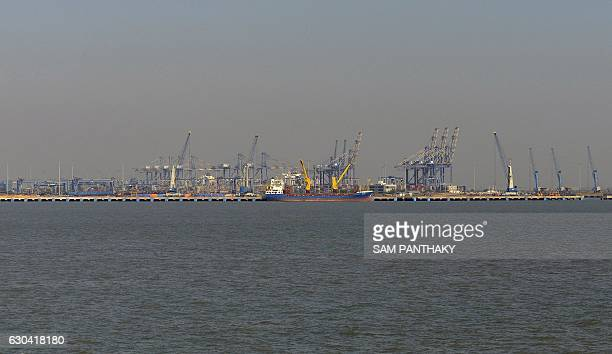 This photo taken on December 21 2016 shows a general view of the India's Adani Port Special Economic Zone in Mundra The Adani Port Special Economic...