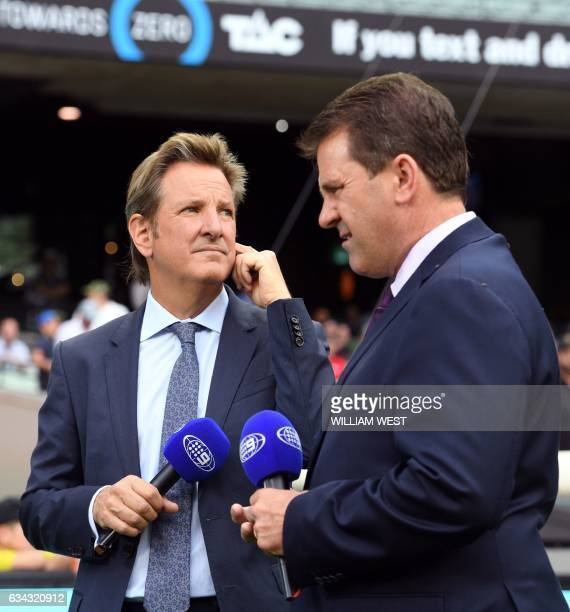 This photo taken on December 27 shows former England county cricketer and now Channel Nine cricket commentator Mark Nicholas with fellow commentator...