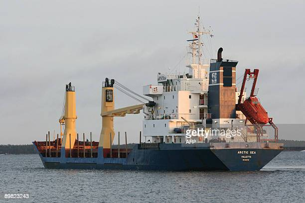 This photo taken on December 29 2008 shows cargo ship Arctic Sea off the caost of Kotka southern Finland Russian President Dmitry Medvedev tasked...