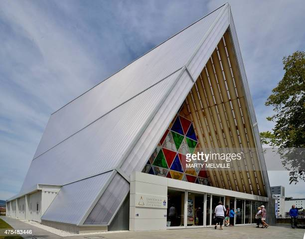 This photo taken on December 30 2014 shows a general view of the front of Christchurch's 'Cardboard Cathedral' designed by awardwinning Japanese...
