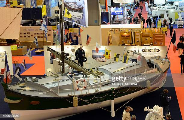 This photo taken on December 4 2015 shows the former lifeboat 'Aimee Hilda' of the town Ploumanac'h of the Cote d'Armor region during the 55th Paris...