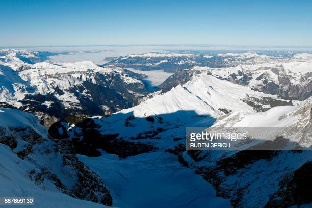 This photo taken on December 7 2017 in Kleine Scheidegg shows the view from the Top of Europe at the Jungfraujoch in the Bernese Alps / AFP PHOTO /...