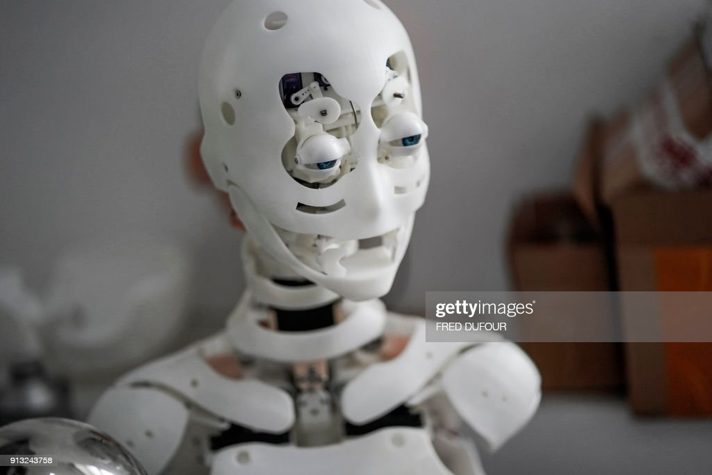 This photo taken on February 1, 2018 shows a robot in a lab of a doll factory of EXDOLL, a firm based in the northeastern Chinese port city of Dalian. With China facing a massive gender gap and a greying population, a company wants to hook up lonely men and retirees with a new kind of companion: 'Smart' sex dolls that can talk, play music and turn on dishwashers. / AFP PHOTO / FRED DUFOUR / TO GO WITH China-sex-lifestyle, FOCUS by Joanna CHIU