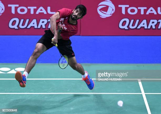 This photo taken on February 1 2018 shows Indian badminton player Kidambi Srikanth hitting a return during his singles match at the Yonex Indian Open...