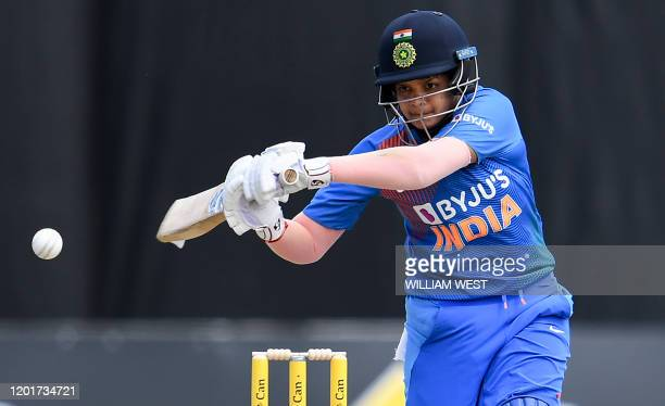 This photo taken on February 12 2020 shows India's Shafali Verma batting during a cricket match against Australia in Melbourne Mighty Australia go...