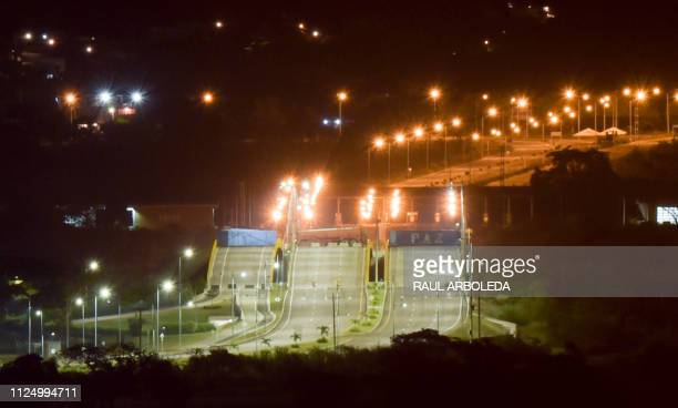 TOPSHOT This photo taken on February 14 2019 shows a general view of the Tienditas International Bridge border with Venezuela in Cucuta Colombia...