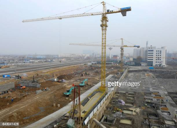 This photo taken on February 16 2017 shows a construction site in Lianyungang China's Jiangsu province Chinese banks lent more money in January alone...