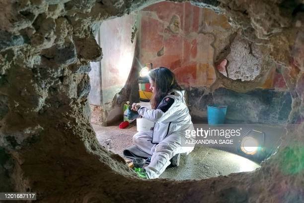 This photo taken on February 18, 2020 shows a restoration specialist working inside the House of Lovers at the Archaeological Site of Pompeii during...