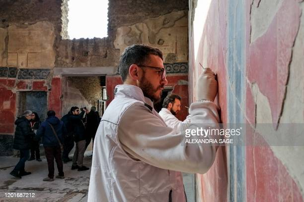 This photo taken on February 18 2020 shows restorer Aldo Guido removing dirt from frescos on the walls of the House of Lovers at the Archaeological...