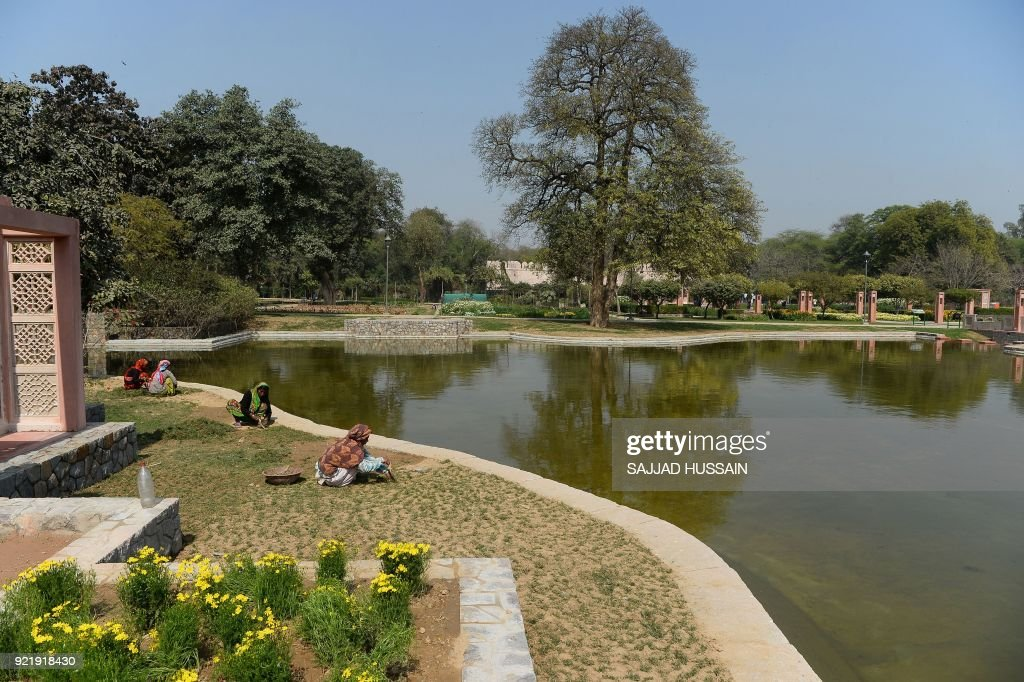 This photo taken on February 20, 2018 shows the garden area in Sunder Nursery, a 16th-century heritage garden complex adjacent to Indian UNESCO site Humayun's Tomb, in New Delhi. A once forgotten Mughal garden in the heart of New Delhi will reopen on February 21 after years of painstaking conservation work, creating a new public park in India's sprawling and smog-choked capital. The 90-acre (36-hectare) garden will be formally opened by the Aga Khan, whose Trust for Culture has helped recreate the classical garden and restore its crumbling 16th-century monuments. PHOTO / Sajjad HUSSAIN