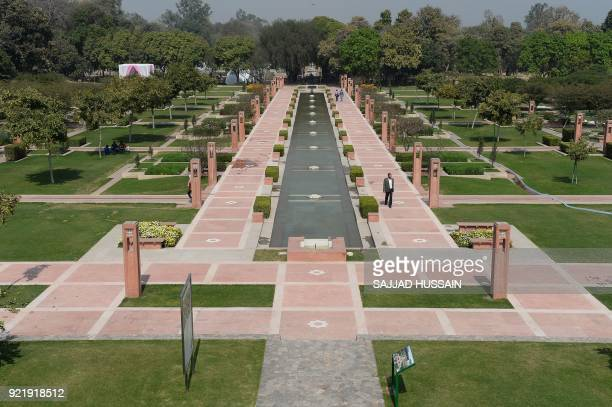 This photo taken on February 20 2018 shows the renovated fountain area in Sunder Nursery a 16thcentury heritage garden complex adjacent to Indian...