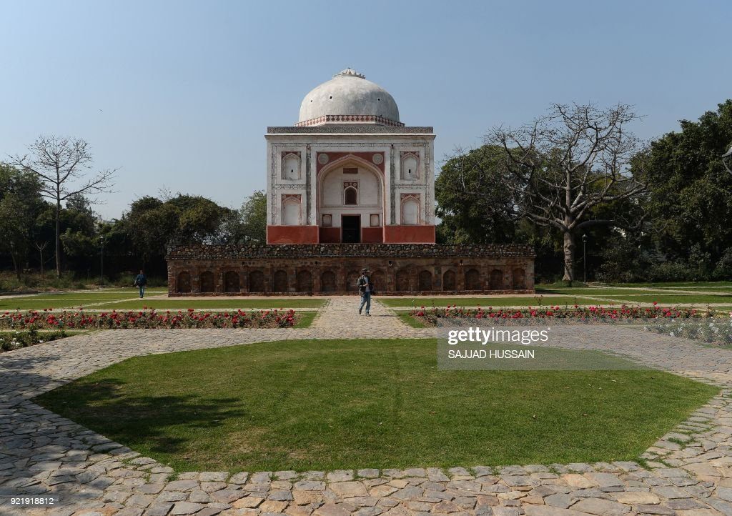 This photo taken on February 20, 2018 shows the renovated Lakkarwala Burj tomb in Sunder Nursery, a 16th-century heritage garden complex adjacent to Indian UNESCO site Humayun's Tomb, in New Delhi. A once forgotten Mughal garden in the heart of New Delhi will reopen on February 21 after years of painstaking conservation work, creating a new public park in India's sprawling and smog-choked capital. The 90-acre (36-hectare) garden will be formally opened by the Aga Khan, whose Trust for Culture has helped recreate the classical garden and restore its crumbling 16th-century monuments. PHOTO / Sajjad HUSSAIN