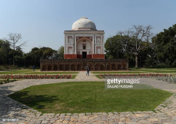 This photo taken on February 20 2018 shows the renovated Lakkarwala Burj tomb in Sunder Nursery a 16thcentury heritage garden complex adjacent to...