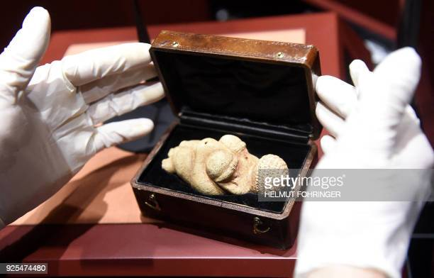This undated picture released on February 28 2018 shows the hands of a person opening a box containing the prehistoric 'Venus of Willendorf' figurine...