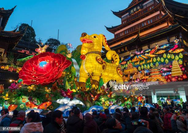 TOPSHOT This photo taken on February 5 2018 shows people walking past a 9metre high dog lantern at the Yu Garden in Shanghai ahead of the coming...