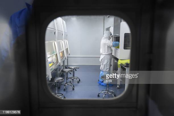 """This photo taken on February 6, 2020 shows a laboratory technician working on samples from people to be tested for the new coronavirus at """"Fire Eye""""..."""
