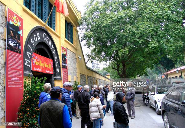 This photo taken on February 7 2018 shows the entrance to Hoa Lo prison dubbed the Hanoi Hilton now a museum in the Vietnamese capital of Hanoi where...