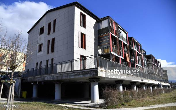 This photo taken on February 8 2018 shows Bazzano dubbed New Town near L'Aquila featuring new urban housing created after the 2009 earthquake Nine...