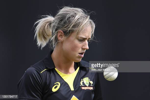 This photo taken on February 9 2020 shows Australian allrounder Ellyse Perry preparing to play a cricket match against England in Melbourne Mighty...