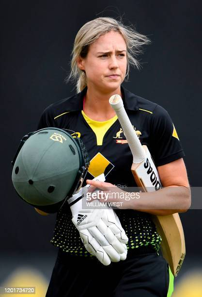 This photo taken on February 9 2020 shows Australian allrounder Ellyse Perry preparing to play during a cricket match against England in Melbourne...
