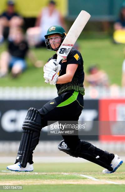 This photo taken on February 9 2020 shows Australia's captain Meg Lanning batting during a cricket match against England in Melbourne Mighty...
