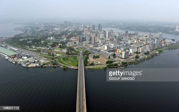 This photo taken on January 1 2011 shows the Felix HouphouetBoigny bridge leading to the business and embassies district of Abidjan AFP PHOTO/ ISSOUF...