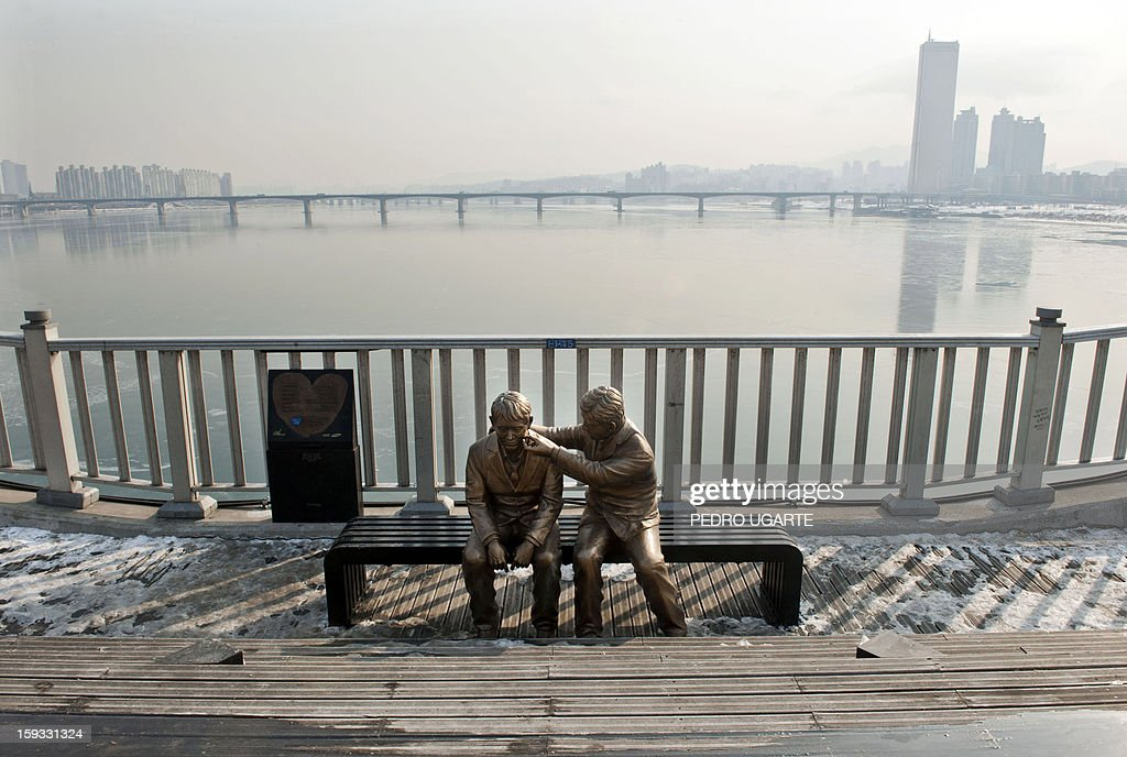 This photo taken on January 11, 2013 shows a statue of a man comforting a person placed by the government to dissuade potential suicides at Mapo Bridge -a common site for suicides- over Seoul's Han river. The South Korean capital has installed anti-suicide monitoring devices on bridges over the city after 196 people jumped to their deaths on 2012 according to South Korean officials. The new initiative -- in a country with the highest suicide rate among leading developed nations -- incorporates closed-circuit television cameras programmed to recognize motions that suggest somebody might be preparing to jump from a bridge. AFP PHOTO / Pedro UGARTE