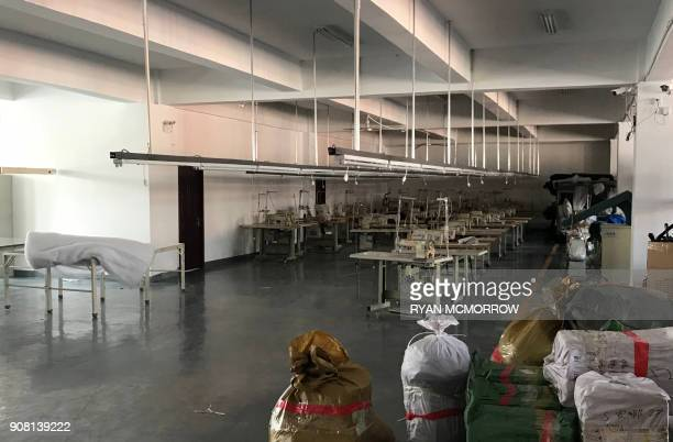This photo taken on January 11 2018 sewing machinese in an unused garment factory of Mr Lin in the Dandong New District Innovation Institute in...