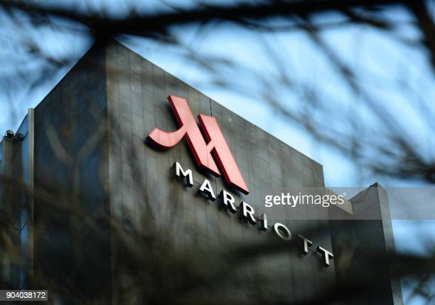 This photo taken on January 11 2018 shows a Marriott logo in Hangzhou in China's Zhejiang province Authorities in China have shut down Marriott's...
