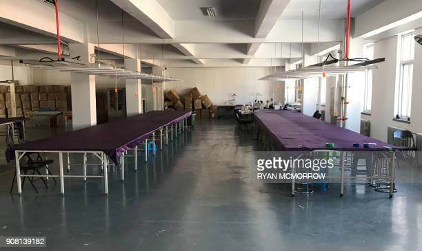 This photo taken on January 11 2018 shows an empty garment factory of Mr Lin in the Dandong New District Innovation Institute in Dandong in China's...